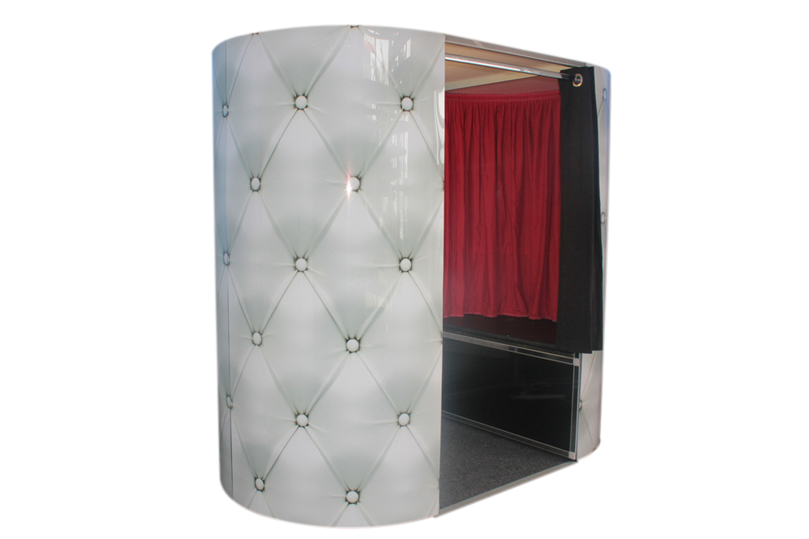 white exterior photo booth