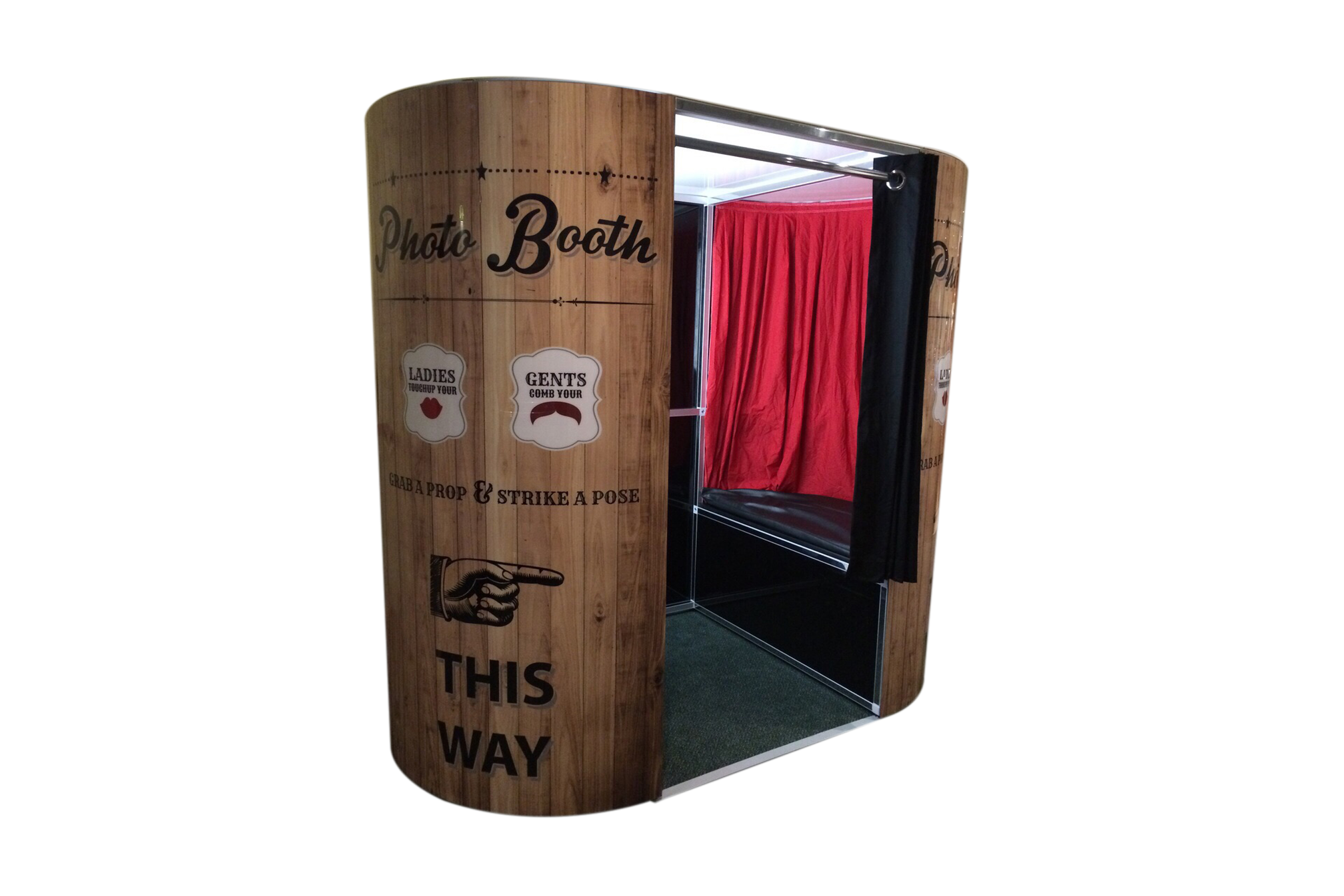 wooden exterior photo booth